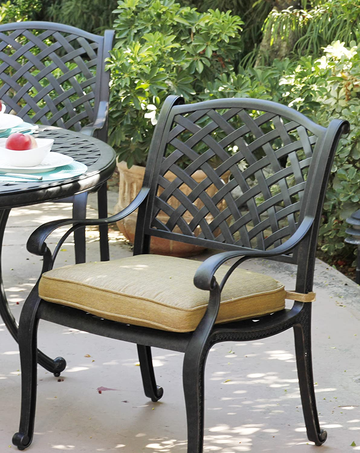 Darlee Nassau Cast Aluminum Dining Chairs with Seat Cushions, Set of 4, Antique Bronze Finish