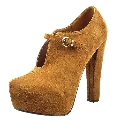 Sopily - Zapatillas de Moda Botines Zapatillas de Plataforma Abierto Tobillo Mujer Hebilla Talón Tacón Ancho Alto 13 CM - Camel CAT-3-PN1520 T 41: ...