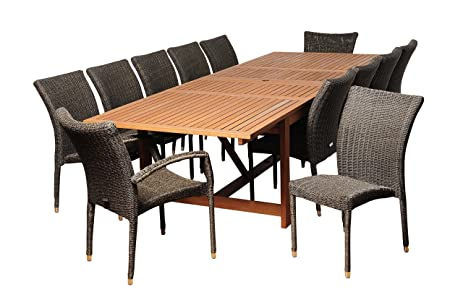 Amazonia Marquette 13 Piece Eucalyptus/Wicker Extendable Rectangular Dining  Set