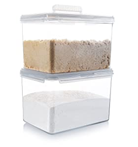 Komax Hikips Flour and Sugar Storage Containers | [Set-of-2] Large Rice, Sugar and Flour Canisters 22-Cups (179-oz) | Airtight Food Storage Containers | Microwave & Dishwasher Safe | BPA-Free Tritan
