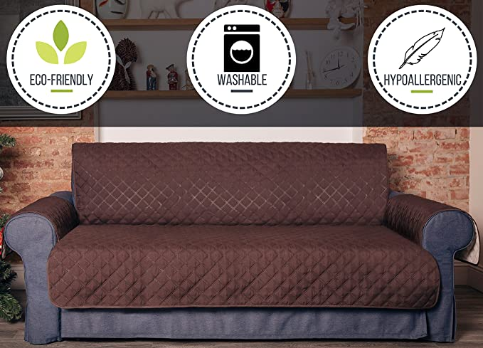 Penatline Sofa Cover with Rubber Anti-Slip Coating. Excellent for Leather Sofas. Heavy and Durable 270 GSM Fabric, Hypoallergenic, Washable, ...