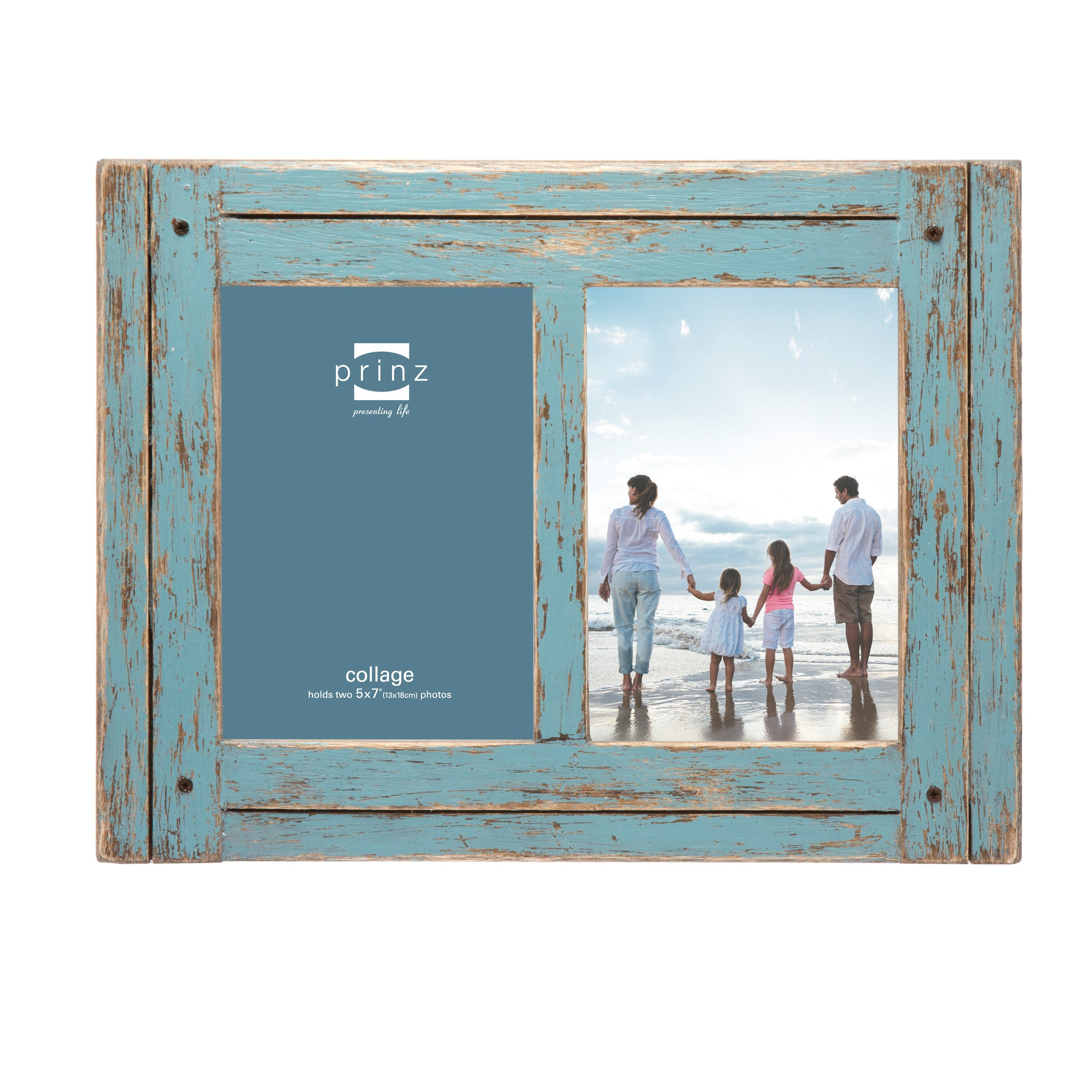PRINZ 2 Opening Homestead Antique Wood Collage Frame, 5 x 7, Blue