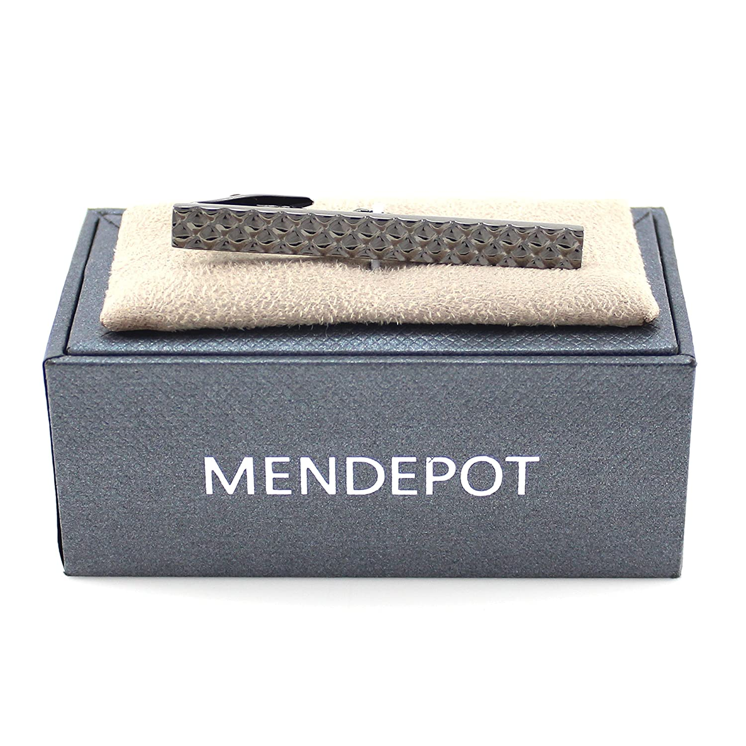 MENDEPOT Classic Gunmetal Plated Embossed Diamond Tie Clip in Box