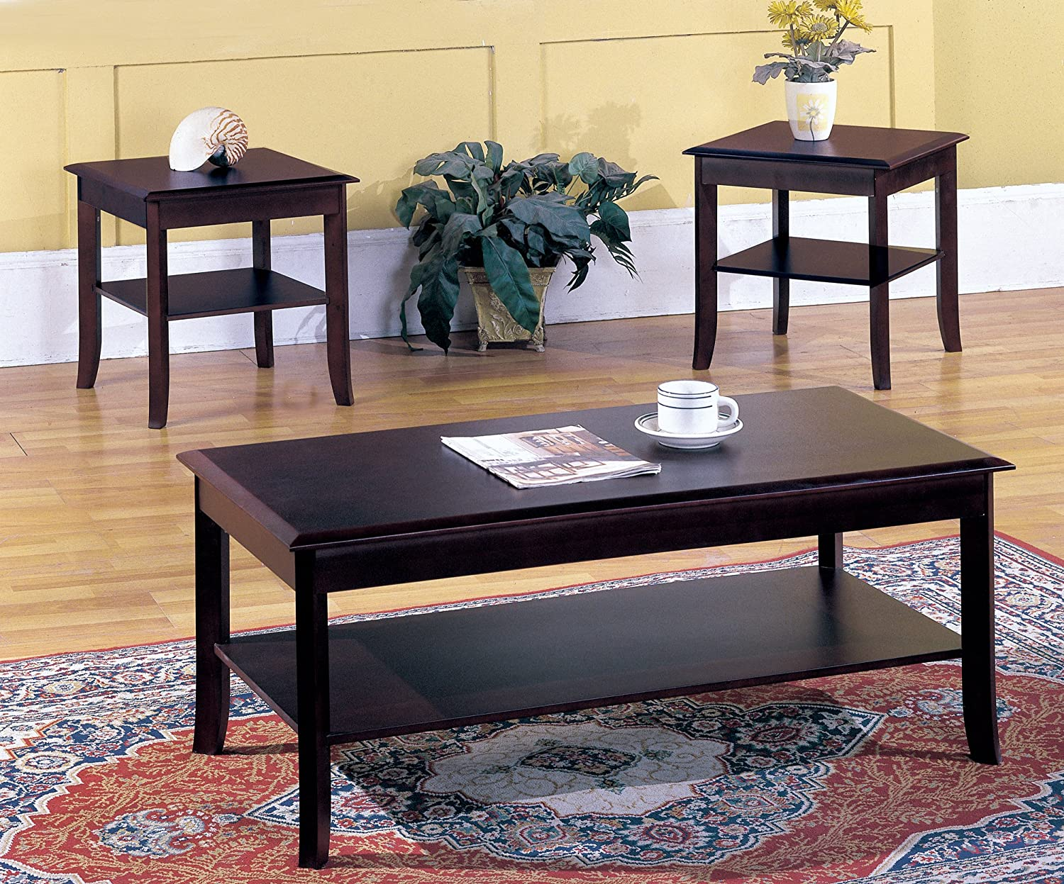 Amazon.com: Kings Brand Furniture 3 Piece Wood Occasional Coffee Table U0026 2  End Tables Set, Cherry: Kitchen U0026 Dining
