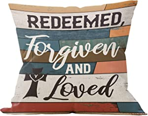 Redeemed, Forgiven And Loved Throw Pillow Case, Christian Decor, Christian Gift, Church Gifts, Scripture Decor, Christian Gifts for Women,18 x 18 Inch Linen Cushion Cover for Sofa Couch Bed