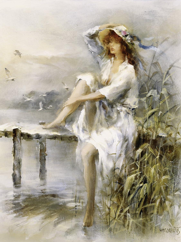 Artland Qualitätsbilder I Bild auf Leinwand Leinwandbilder Wandbilder 90 x 120 cm  Herrenchen Frau Malerei Creme B9BB Wasserseite