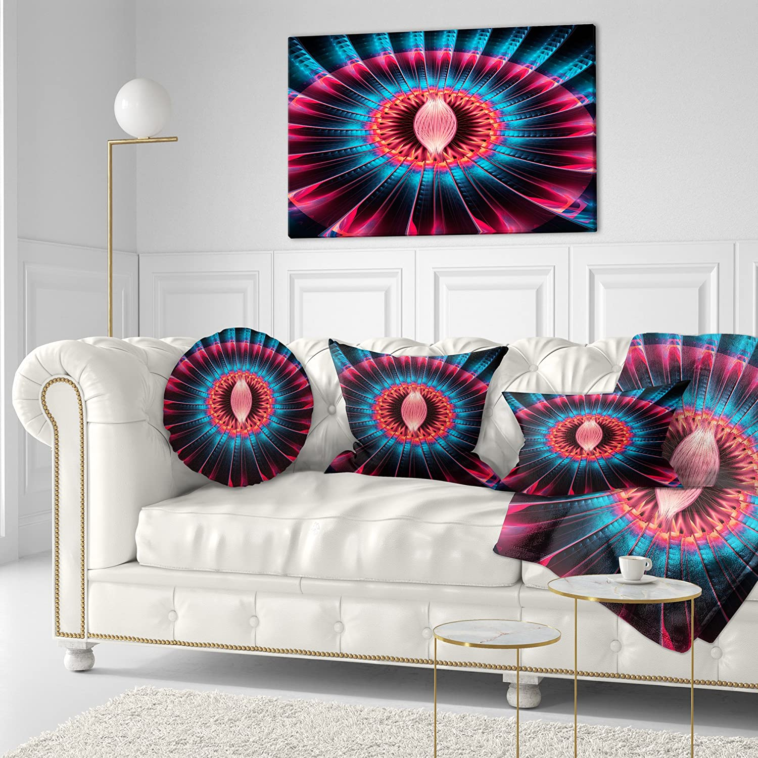 Sofa Throw Pillow 20 Designart CU8659-20-20-C Abstract Colorful Fractal Flower Floral Round Cushion Cover for Living Room Insert Printed On Both Side