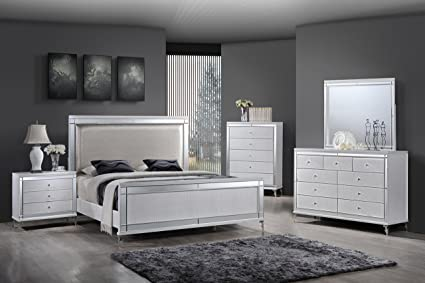 Best Quality Furniture B9698QSet Metallic White Mirrored Queen Bedroom Set  (4PC), Silver
