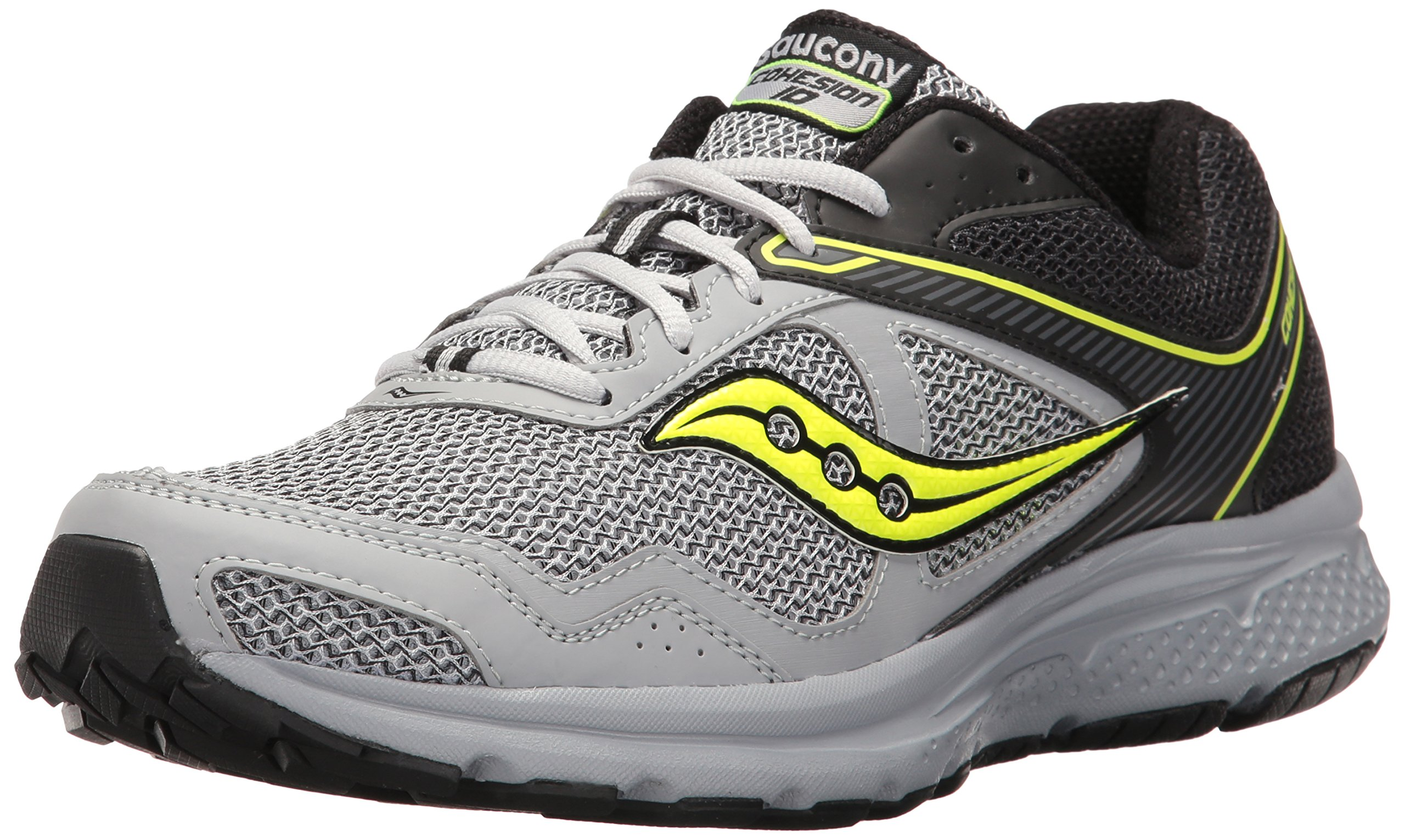 Saucony Men's Cohesion 10 Running Shoe, Black/Grey/Citron, 8 M US