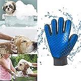 Pet Hair Remover  Gloves Mitt Deshedding Brush Glove for Cat Dog Blue