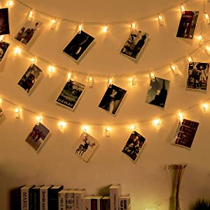 Ohbingo 30 Led Outdoor Christmas Lights Photo Clips String LightsUSB Operated Fairy Lights Patio lights for Xmas, Bedroom, Indoor, Party, College Dorm Room, Ideal Gift 12ft Warm White