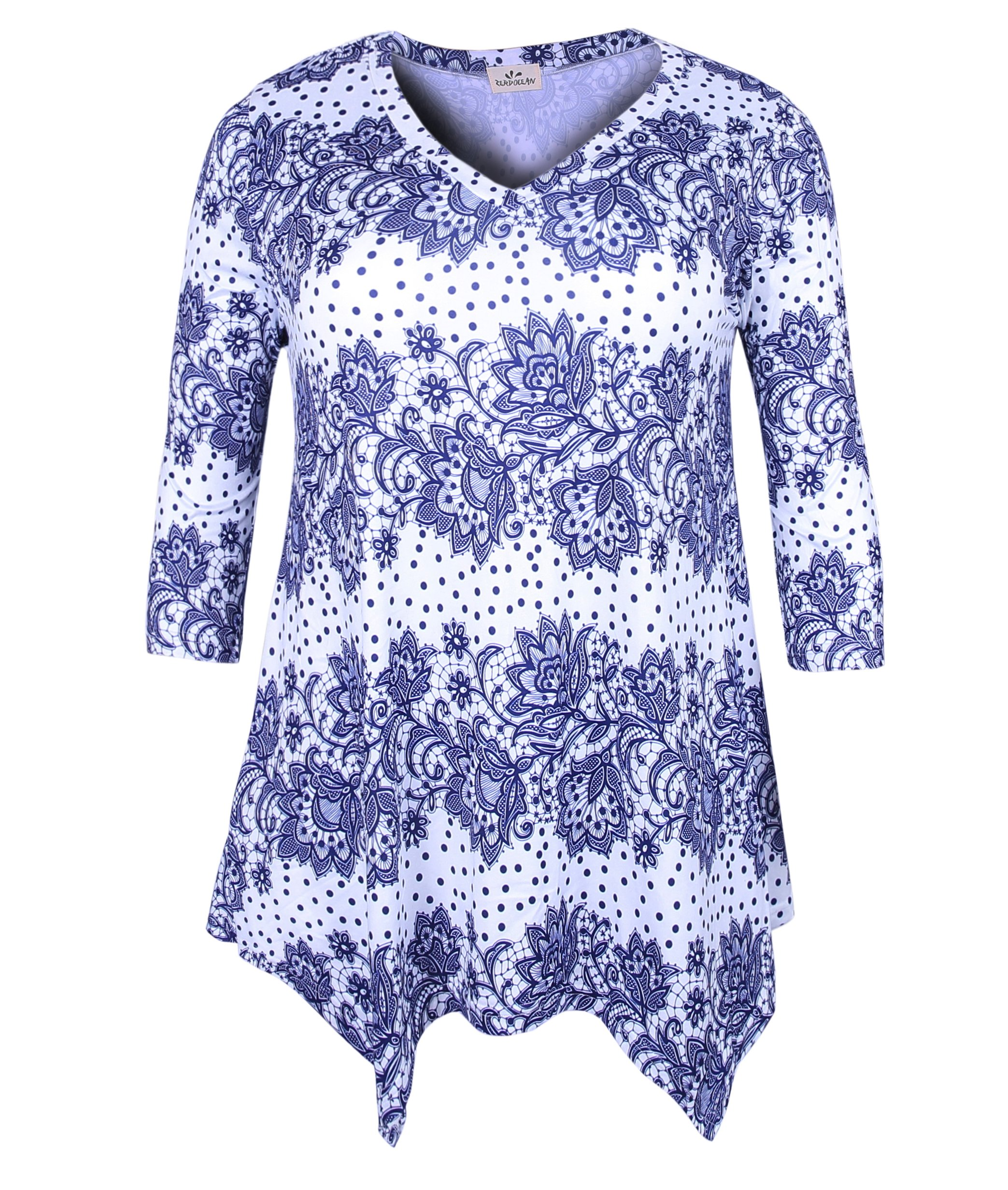 ZERDOCEAN Women's Plus Size Printed 3/4 Sleeve Tunic Top Loose Shirt Style-109 2X