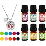 Tree of Life Essential Oil Diffuser Necklace Gift Set Stainless Steel One Piece Locket Pendant 24 Adjustable Chain & 6 Synergy Blends (Unwind Health Serenity Vitality Romance Immunity)