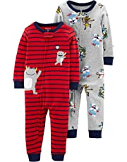 Carter's Pijama de algodón sin pies para niños pequeños, Paquete de 2