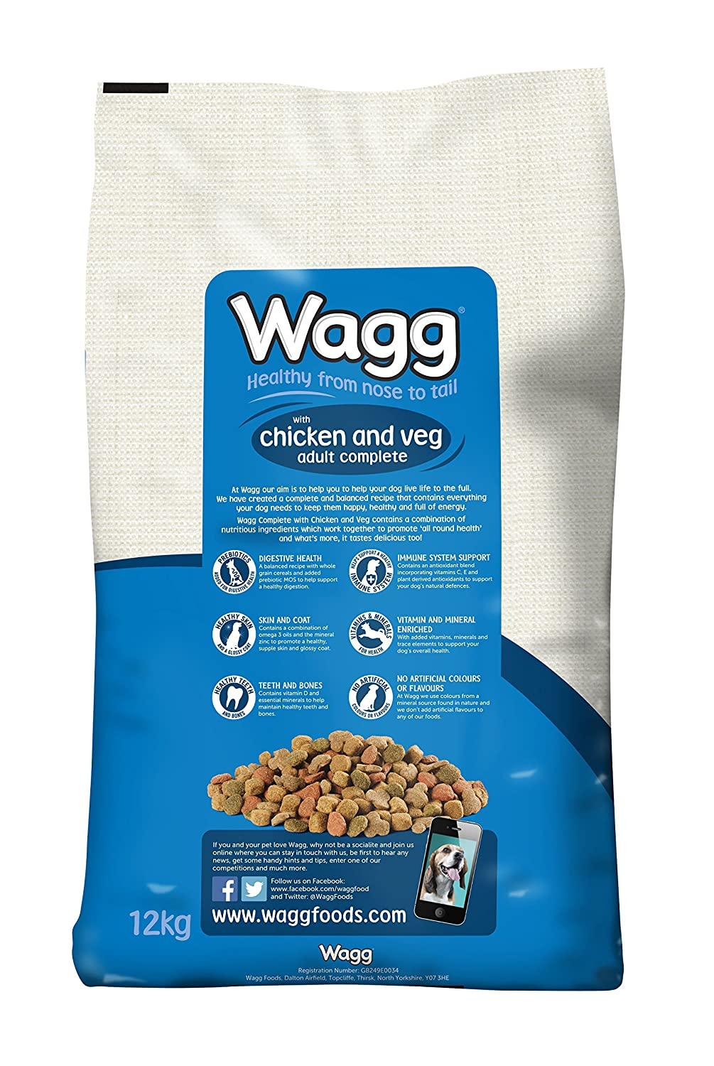Wagg Dog Food Complete Chicken And Veg 12kg Amazon Co Uk Pet Supplies