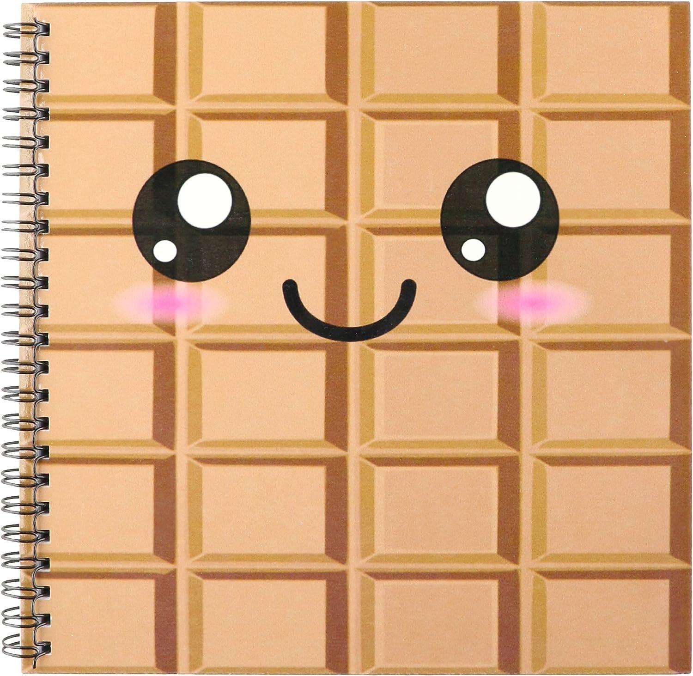 3dRose db_57500_1 Kawaii Happy Milk Chocolate Bar Cute Smiley Foods Japanese Style Cartoon Anime Character Drawing Book, 8 by 8-Inch