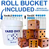 GETMOVIN SPORTS Stained Or Original Finish Yardzee and Yard Farkle Giant Dice Set (All Weather) Roll Bucket and Scorecard - Includes 6 Dice, Dry Erase Scorecard W/Marker, Roll Bucket, Lid for Storage
