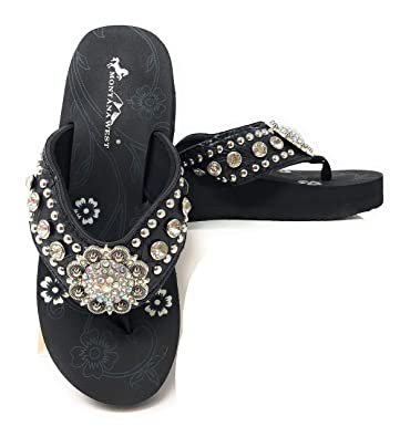 fbcd843fdd3 Montana West Women Flip Flops Wedged Bling Sandals Large Floral Concho Black