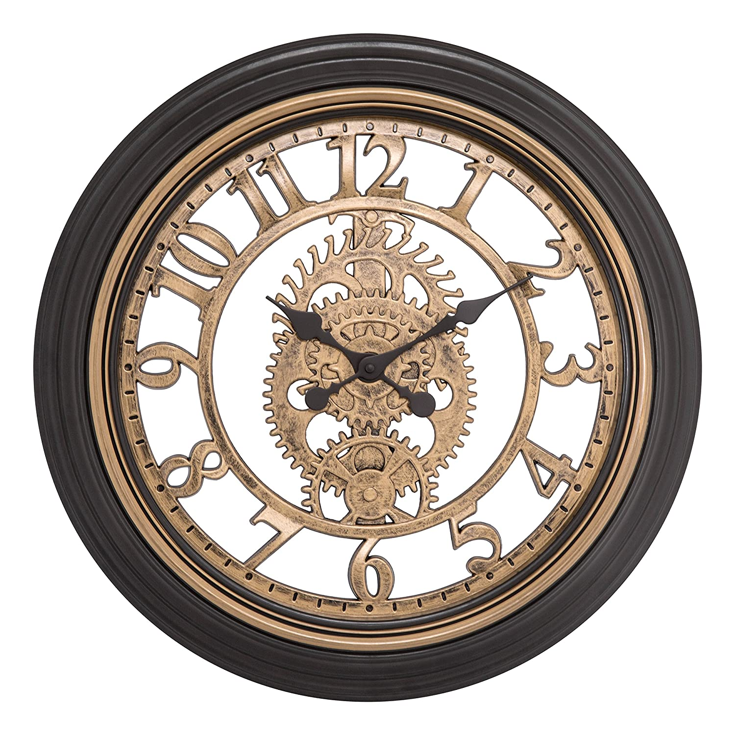 Brown Cut-Out Gears Analog Clock La Crosse Technology Ltd. Equity by La Crosse 86611 20 in