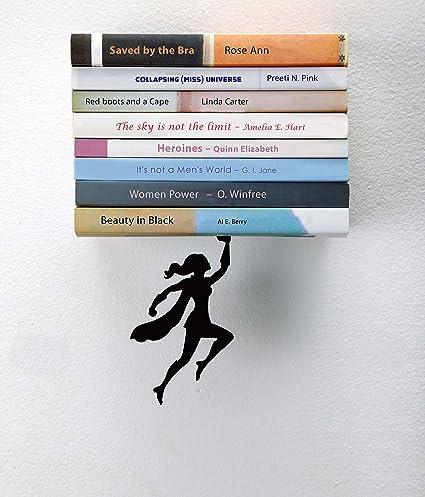 Artori Design QuotWondershelfquot Black Metal Female Superwoman Floating Bookshelf Unique Book Shelf