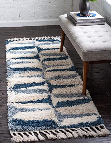 Unique Loom Hygge Shag Collection Abstract Geometric Plush Cozy Blue Runner Rug 2 7 x 8 2