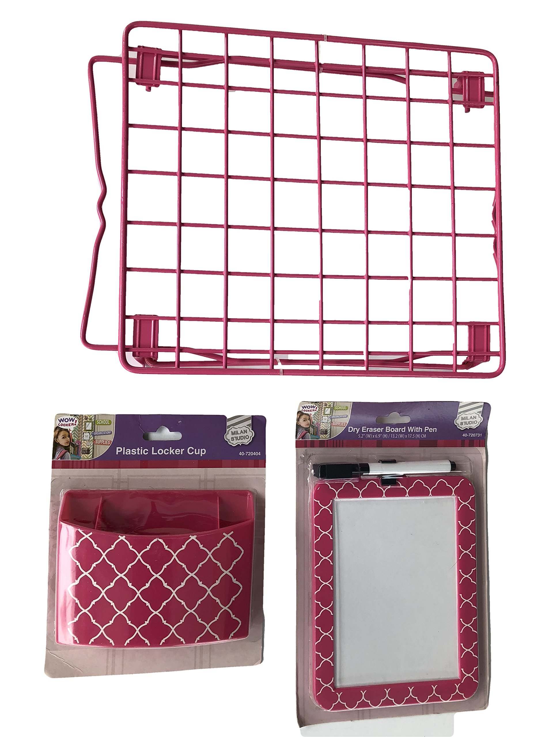 Pink School Locker Set, Locker Shelf, Pencil/Make up Holder, Dry Erase Board