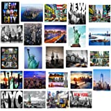 "24 Various Collectible New York City Landmark Photos Decorative NY Pictures NYC Souvenir Wall Poster Prints - 8"" X 10"""