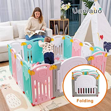 Size : Orange Activity & Entertainment Playards Portable Baby Playpen Kids Activity Centre Safety Play Yard Green Play Space Indoor and Outdoor 7 Panel