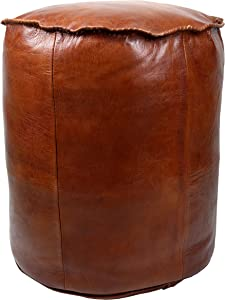 Marrakesh Gallery Moroccan Cylinder Pouf Cover - Cylindrical & Large Ottoman Leather Cover Stool - Bohemian Living Room Decor - Hassock & Ottoman Footstool - Unstuffed (Dark Brown)
