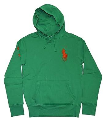 Polo Ralph Lauren Mens Big Pony Hoodie Hooded Sweatshirt Green Orange Small