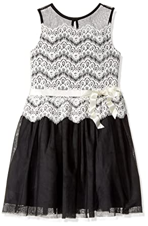 Fit Byer Flare Amy Dress Lace Big Sleeveless To Girls' Mesh And 3ARj54Lq