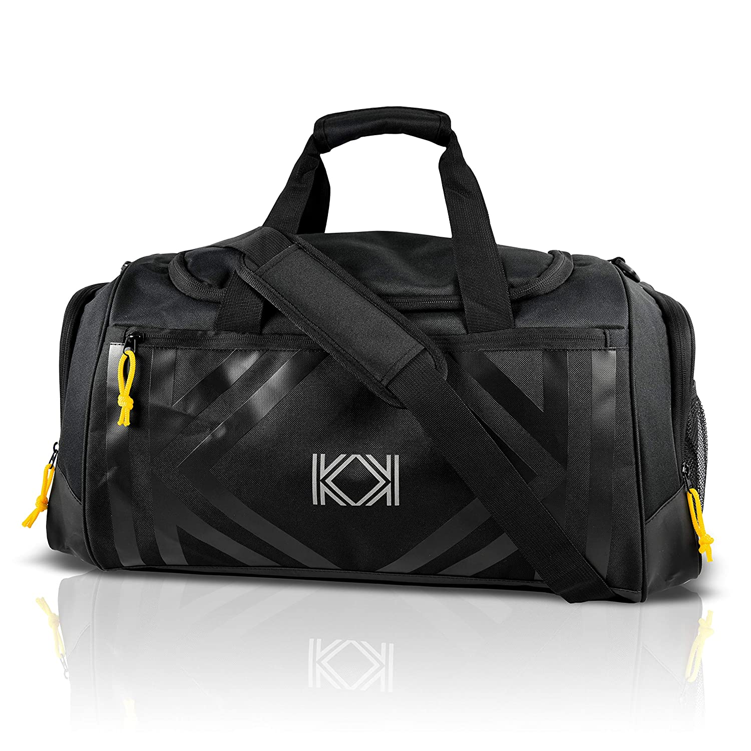KK Gym Bag, Black Sport Duffle Bag With Yoga Mat Holder, Separate Shoes Compartment,47L Large Travel Bag, Water Resistant