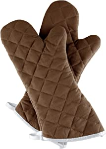 Oven Mitts, Set of 2 Oversized Quilted Mittens, Flame and Heat Resistant By Lavish Home (Chocolate)