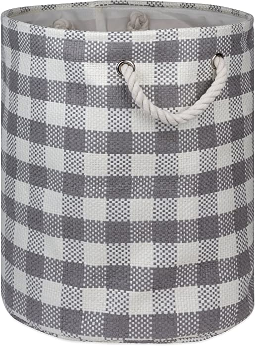 DII Checkers Woven Paper Collapsible Laundry Hamper and Storage Bin, 20x15x15, Large Round, Gray
