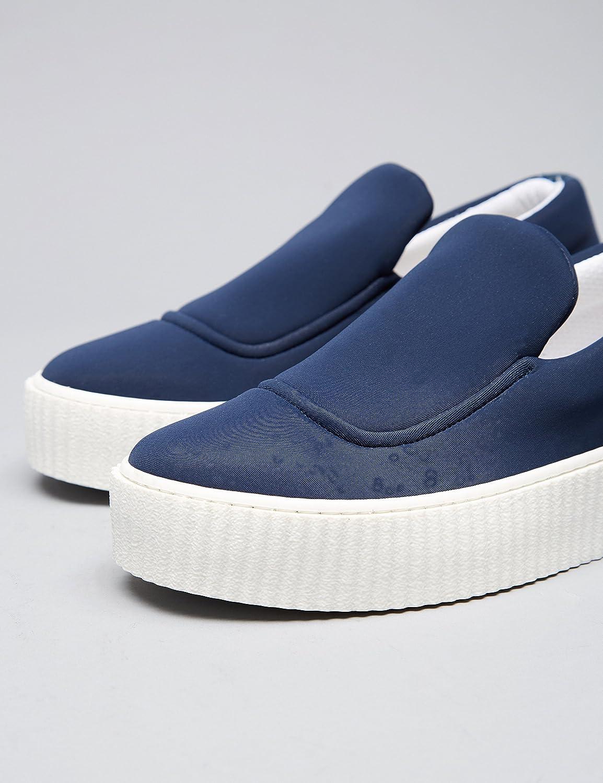 FIND Plateau Dekorative Schuhe Damen Gerippte Sohle Dekorative Plateau Naht Blau (Blue) c5633f