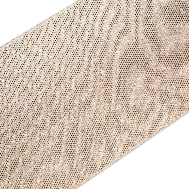 Casa pura Teppich Läufer in Sisal Optik   Flachgewebe mit Tiger-Eye-Struktur   Ausgezeichnet mit Gut-Siegel   Kombinierbar mit Stufenmatten (Beige, 100x250 cm)