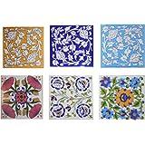 SHIVKRIPA BLUE ART POTTERY Ceramic Decorative Handmade Tiles (6-Piece, SKT43)