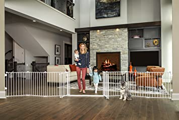 Regalo 192 Inch Double Door Super Wide Gate And Adjustable 8 Panel Play Yard