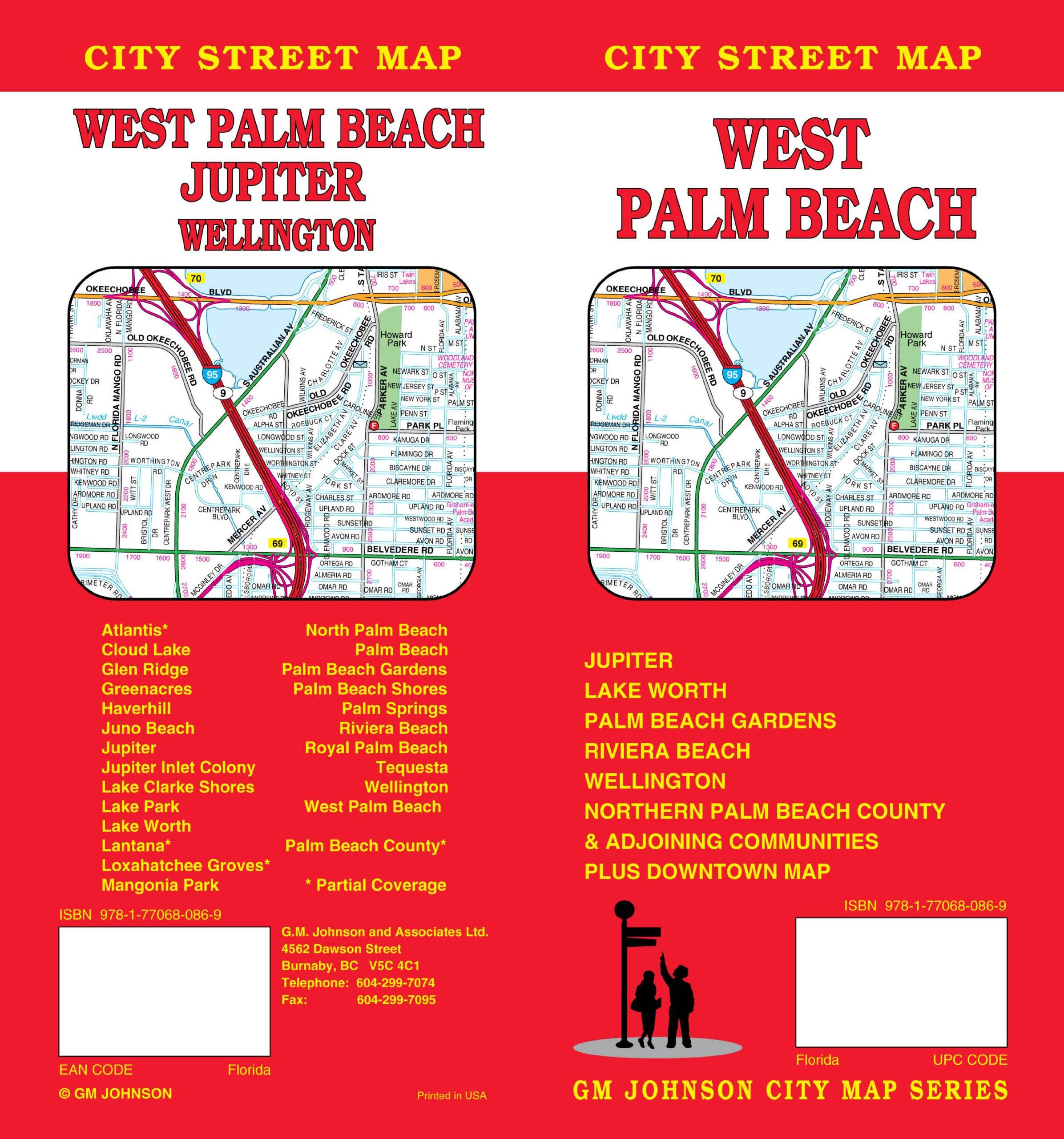 Map Of West Florida Cities.West Palm Beach Fl City Street Map Gm Johnson Associates Ltd