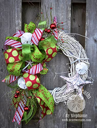 beach christmas wreath shells white grapevine silver starfish polka dot stripes - Beach Christmas Wreath
