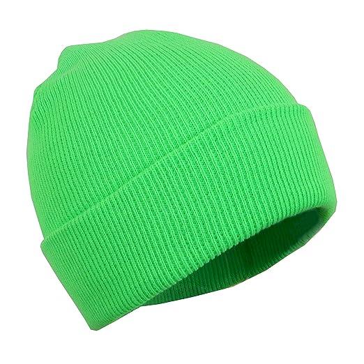 Neon Green Unisex Stretchy Cotton Beanie Hat 4f7ee3895f