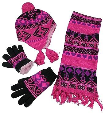 Amazon.com: N'Ice Caps Big Girls Sherpa Lined Geo Print Hat/Scarf ...
