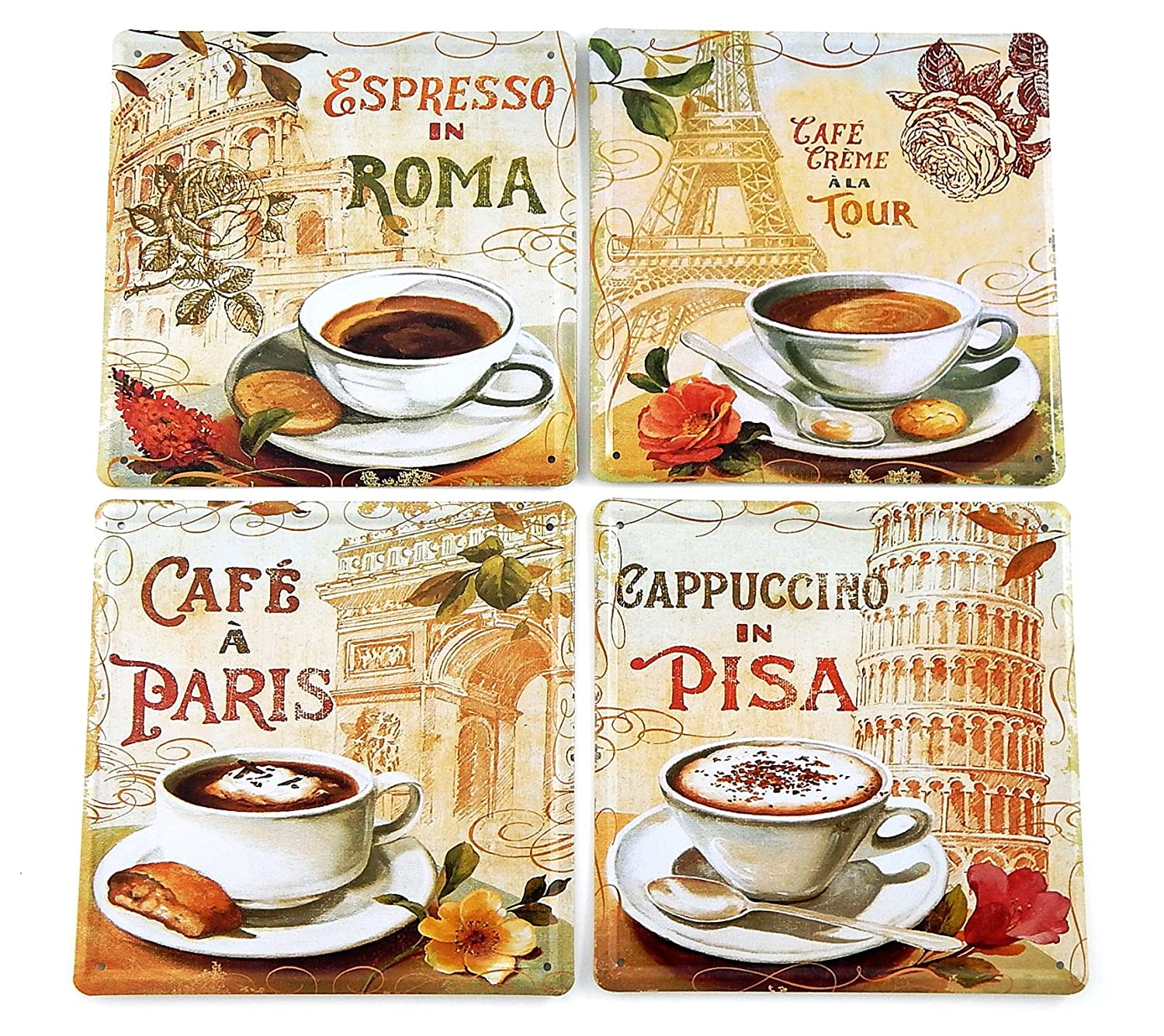 Four Piece Metal Coffee Canvas Set