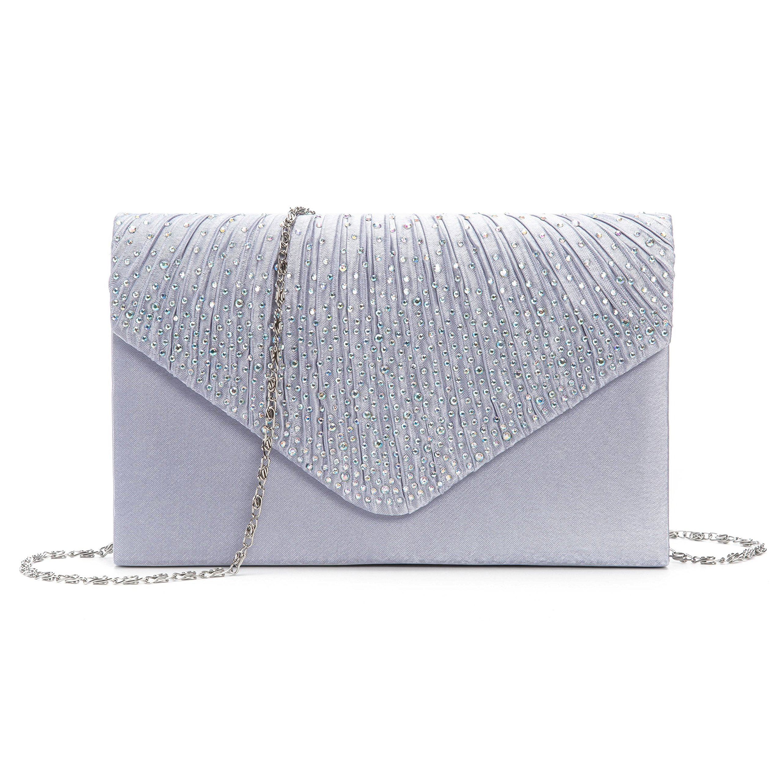 Kaever Evening Clutch, Womens Satin Rhinestone Envelope Clutch Purse For Wedding and Party (Silver)
