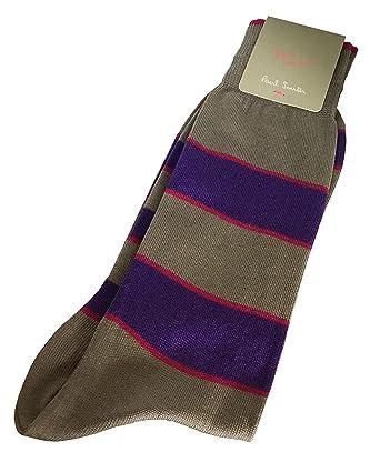 837cee8df9 PAUL SMITH ODD SOCKS Mens Cotton Socks Grey with Purple & Pink Stripes One  Size