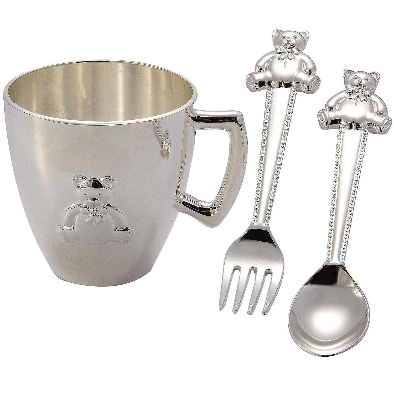 Amazon.com: 3 pieza bañado en plata set w/Bear Taza, cuchara ...