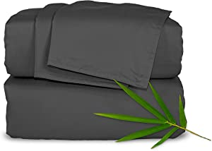 "Pure Bamboo Sheets - Queen Size Bed Sheets 4pc Set - 100% Organic Bamboo - Incredibly Soft - Fits Up to 16"" Mattress - 1 Fitted Sheet, 1 Flat Sheet, 2 Pillowcases (Queen, Charcoal)"