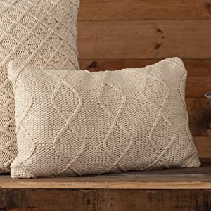 "Piper Classics Cozy Knit Throw Pillow Cover, 12"" x 20"", Machine Knitted Diamond Stripe Pattern, Modern Rustic Farmhouse Décor, Cream Yarn Accent Pillow"