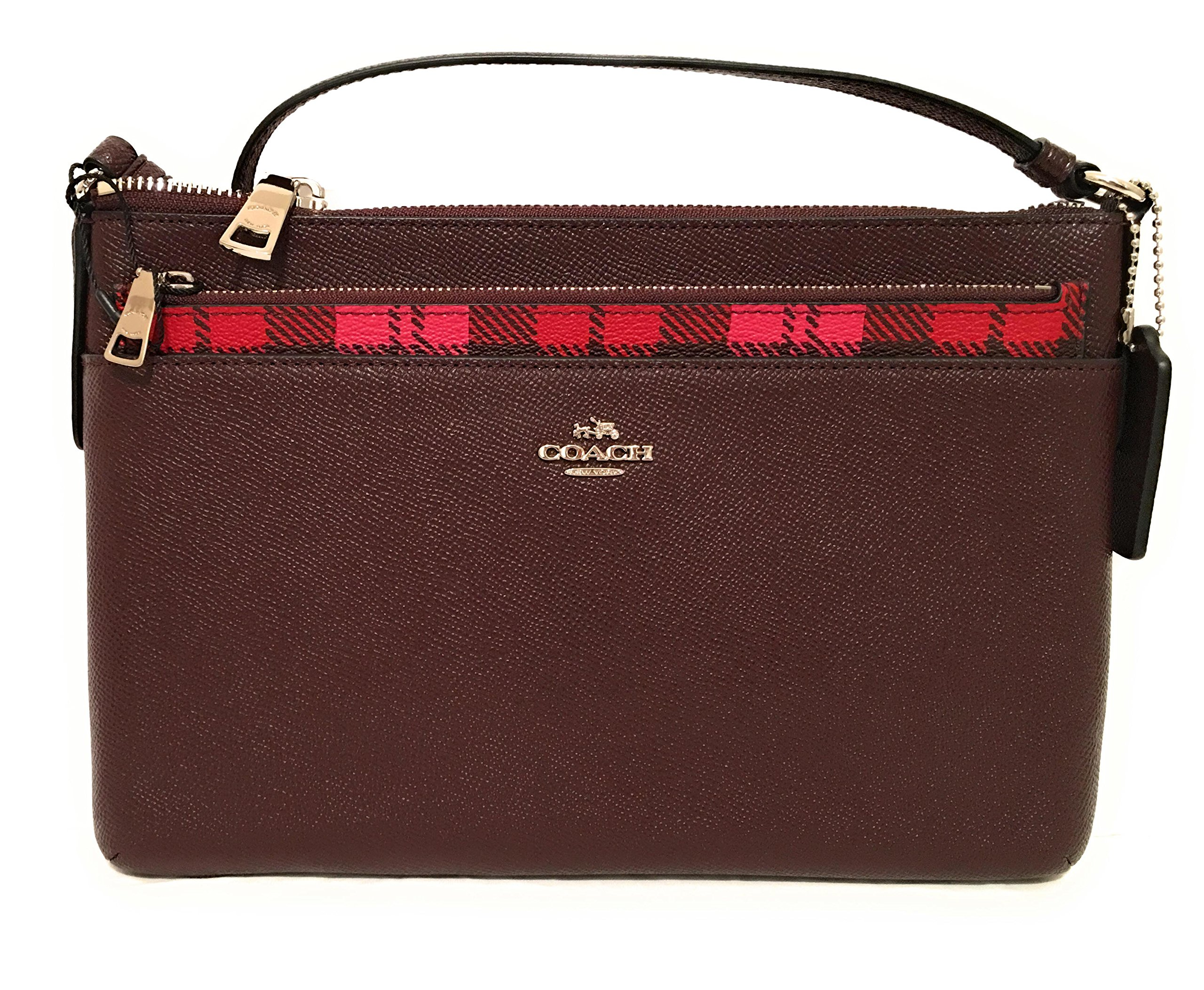 COACH EAST/WEST CROSSBODY WITH POP-UP POUCH WITH WILD PLAID PRINT F22251 Pink Red Multi by Coach