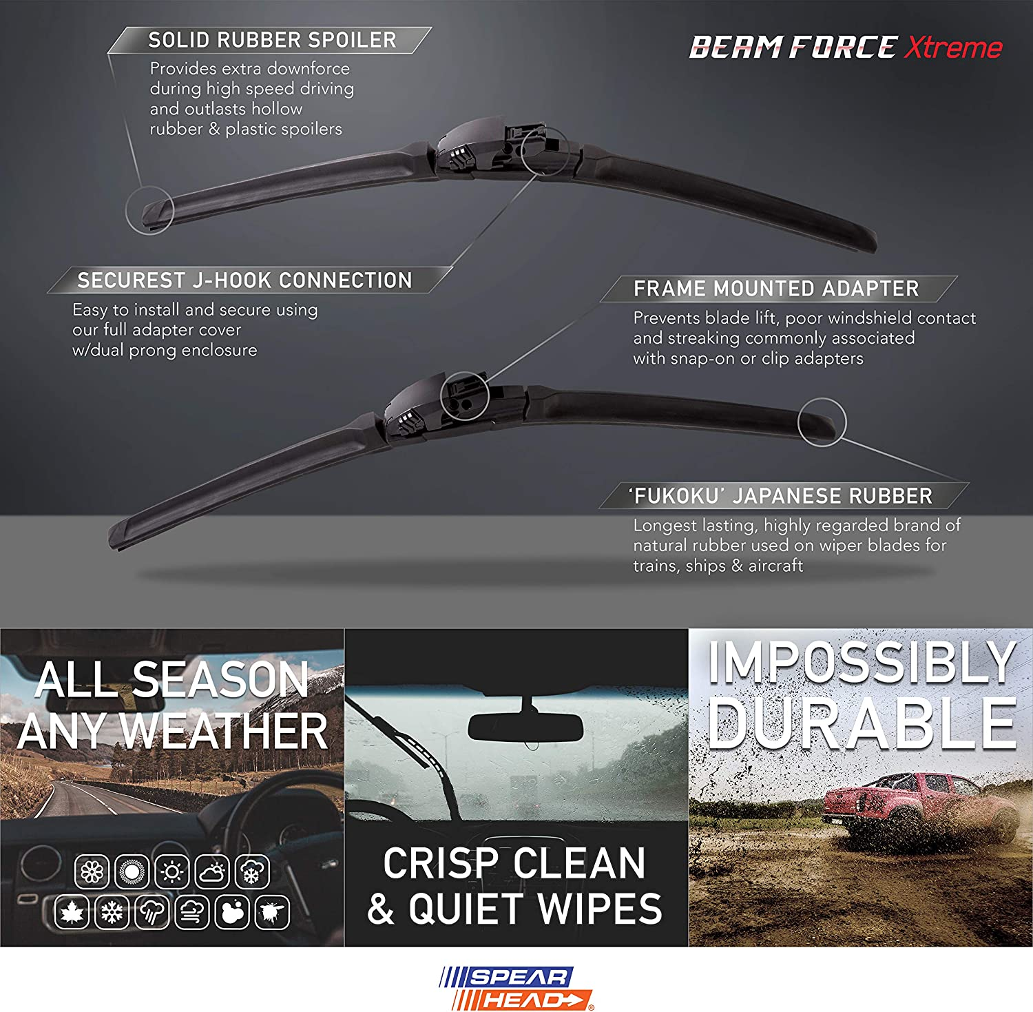 Online Automotive FWBFDMON18 1004 Pair of Front Aero//Flat Windscreen Wiper Blades